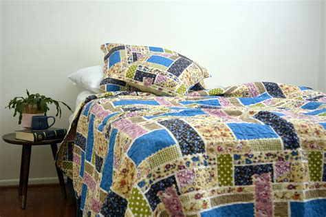 Colorful Coverlets by Dada Bedding Colorful Blue Floral Cottage Patchwork Quilt