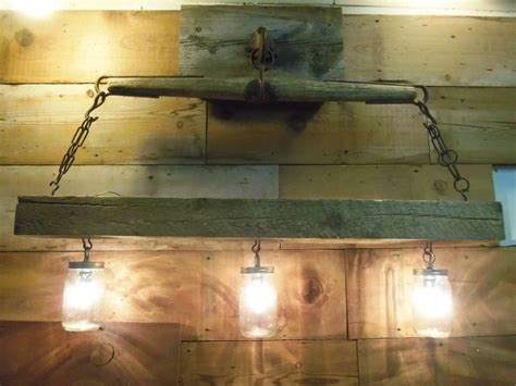 reclaimed wood beam jar chandelier with antique