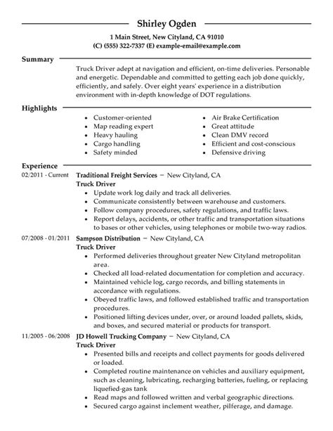 free sle resume school driver best truck driver resume exle livecareer
