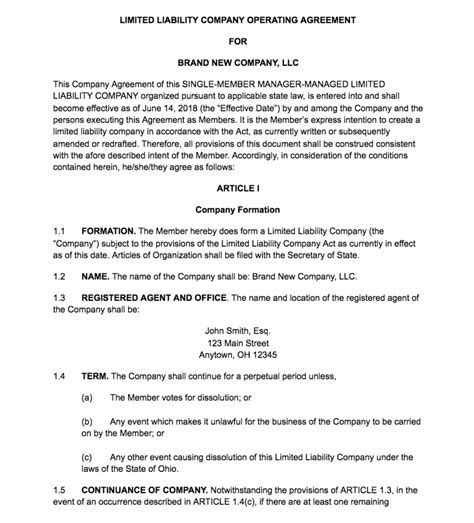 create  llc operating agreement  templates