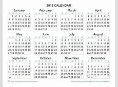 2018 Calendar – Download Quality Calendars