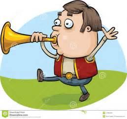 Cartoon Man Blowing Horn