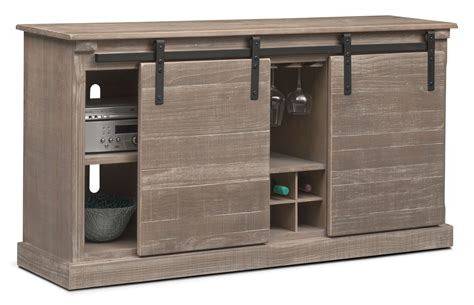 Wine Storage Credenzas - ashcroft media credenza with wine storage gray
