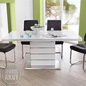 Hochglanz Tisch Weiß : esstisch alando tisch wei hochglanz edelstahl ausziehbar 160 200x90 ebay ~ Frokenaadalensverden.com Haus und Dekorationen