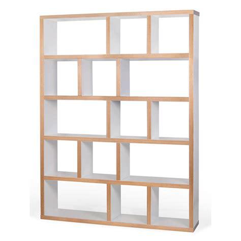 bout de canapé en bois etagère bibliothèque berlin 5 niveaux 150 cm blanc bois