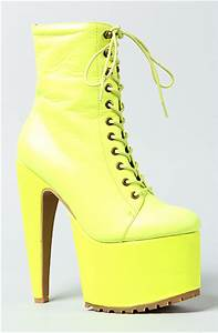 Jeffrey Campbell Boots Go Go Lace Ups in Neon Yellow