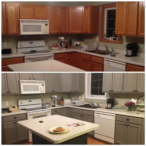 Repainting Kitchen Cupboards by Before And After Painting My Kitchen Cupboards With