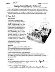 Is the final aspect of the nitrogen cycle. Biogeochemical Cycles Webquest - Name Date Block ...