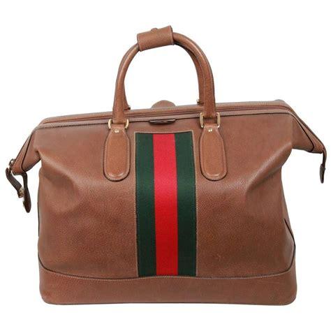 gucci vintage tan leather travel bag weekender  stripes  sale  stdibs