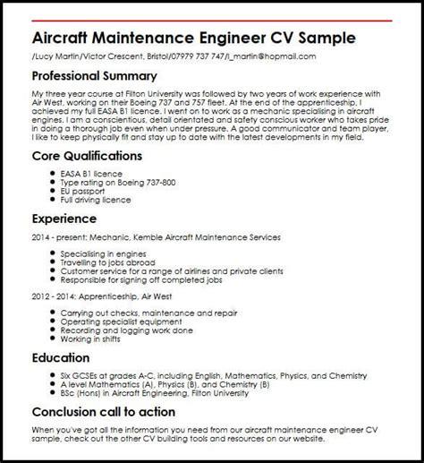 Mechanical Maintenance Engineer Cv by Aircraft Maintenance Engineer Cv Sle Myperfectcv