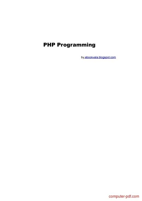 [PDF] PHP Programming free tutorial for Beginners