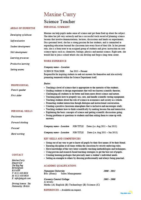 How To Make A Teaching Resume by Science Resume Sle Exle Description Teaching Class Lesson Experience Work