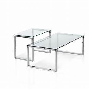 Couchtisch Oval Glas : 2er set couchtisch glas stahl glastisch wohnzimmertisch beistelltisch tisch neu ~ Frokenaadalensverden.com Haus und Dekorationen