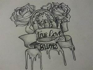 True love burns - Tattoo pencil roses scrolls. by ...