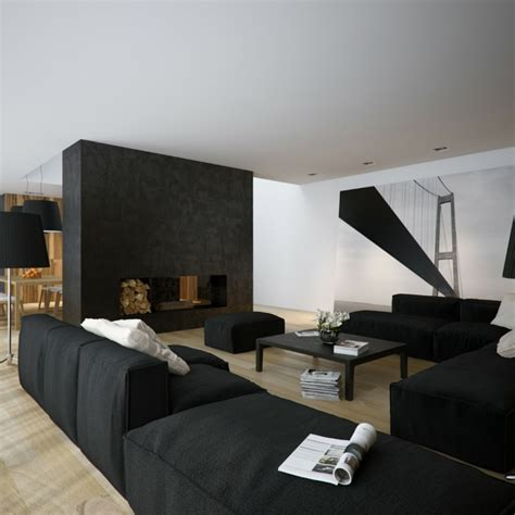 Schwarzes Sofa Welche Wandfarbe by Wohnzimmer In Schwarz 25 Interieurs Archzine Net
