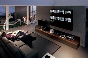 Wooden finish wall unit combinations from hulsta for Living room media furniture
