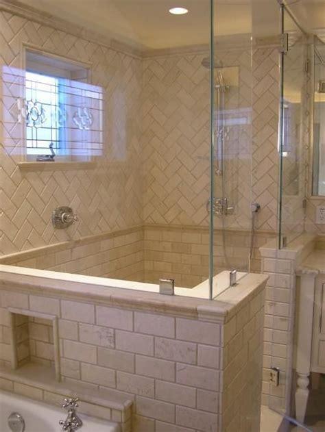the tile pattern chevron showers bath remodel