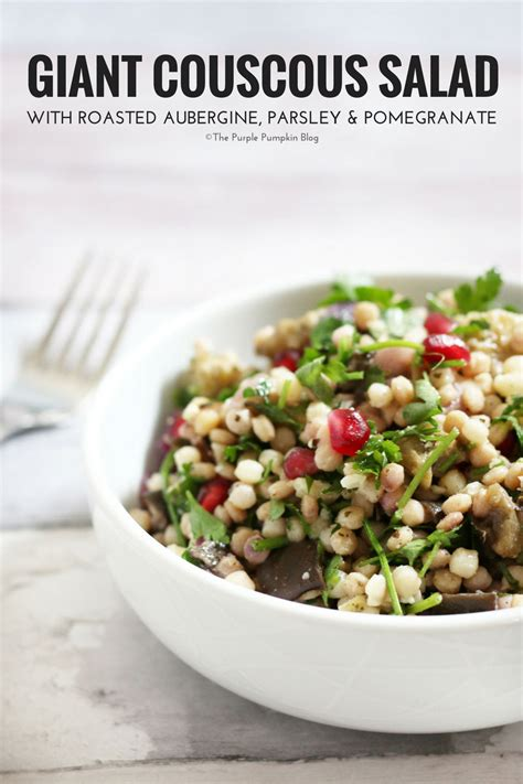 giant couscous salad  roasted aubergine parsley