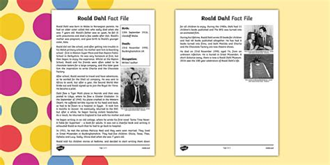 Roald Dahl Fact File (teacher made)