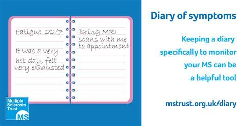 diary  symptoms ms trust