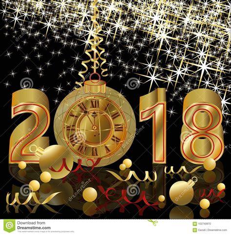 happy   year  golden clock wallpaper stock
