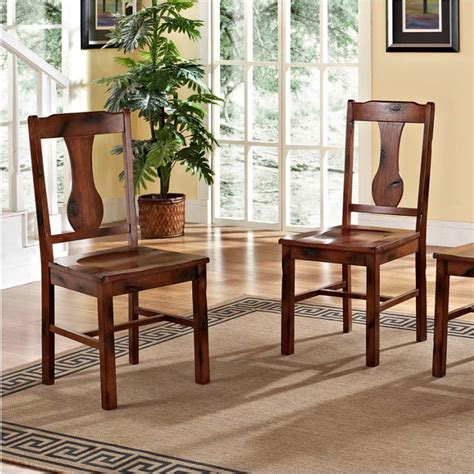 walker edison set of 4 wood dining chairs distressed oak