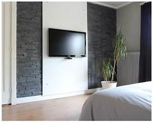 Tv Wand Modern : slaapkamer tv wand met steenstrips beautifully decorated ~ Michelbontemps.com Haus und Dekorationen