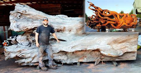 artist transforms fallen redwood  giant octopus