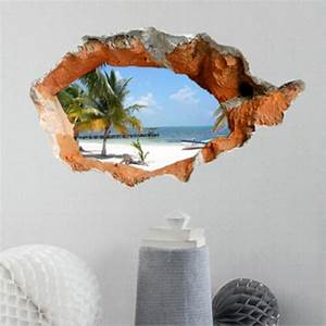 3d beach wall decals 38 inch removable sea wall art With beautiful beach decals for walls