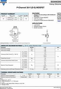Si2343cds Datasheet   S Manuals Com  Vishay