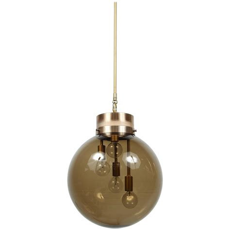 large smoked globe pendant light at 1stdibs