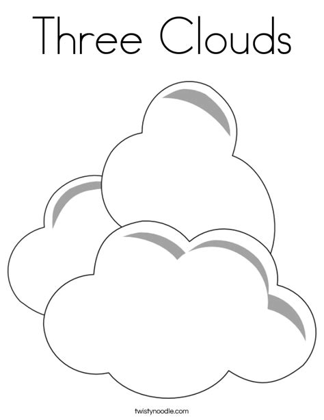 C Is For Cloud Coloring Page Twisty Noodle Three Clouds Coloring Page Twisty Noodle
