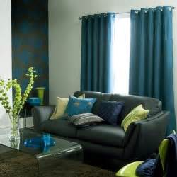 teal curtains gray couch home decor