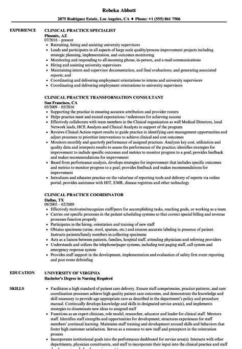 Practice Resume by Clinical Practice Resume Sles Velvet