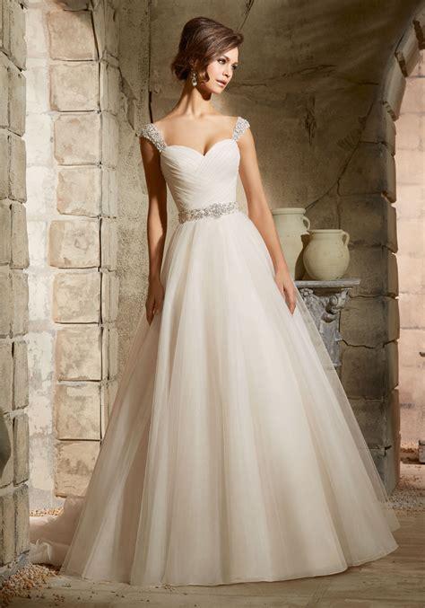 Draped Wedding Dresses - asymmetrically draped bodice on tulle morilee bridal
