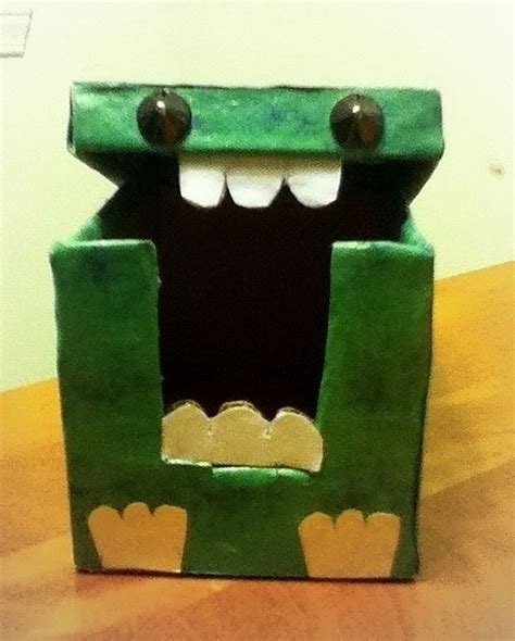 small cardboard monster box  paper box art drawing