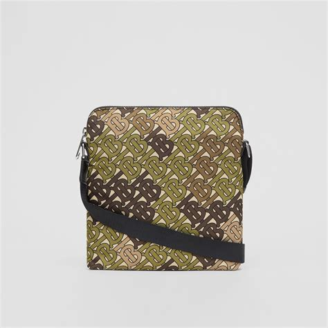 monogram print nylon crossbody bag  khaki green men