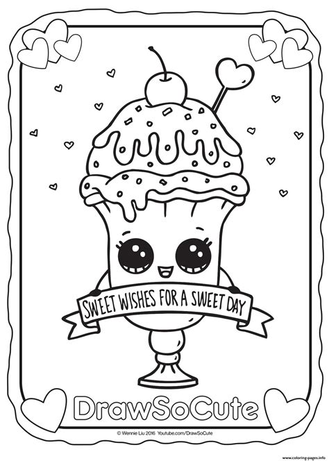 valentine ice cream sundae draw  cute coloring pages