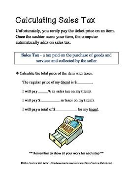 In My Dreams  Activity #1  Calculating Sales Tax And