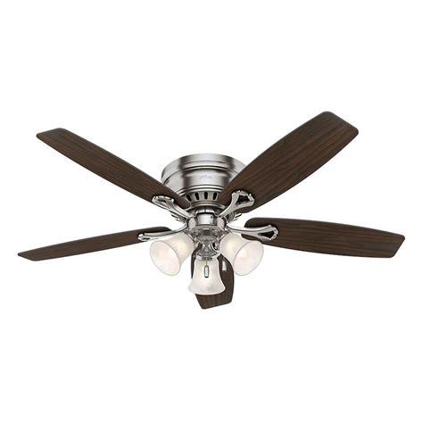 hunter oakhurst ceiling fan hunter oakhurst 52 in indoor low profile brushed nickel