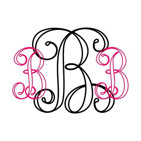 interlocking vine outline monogram cuttable font