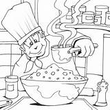 Coloring Chef Cook Colouring Pages Cooking Printable Chefs Jobs Drawing Utensils sketch template