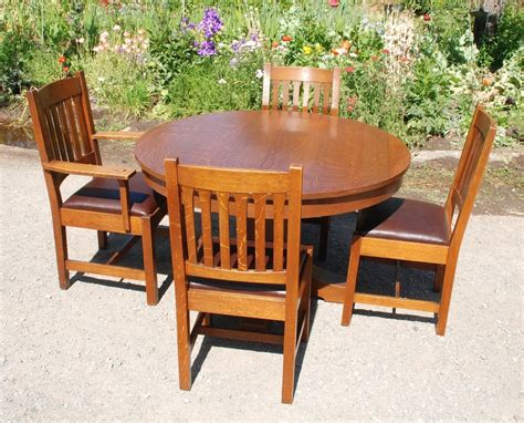 original l j g stickley dining table chairs circa