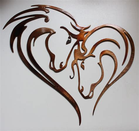 We guarantee that you cannot find the same art pieces at a cheaper price. Mothers Heart Horse Heart Metal Art
