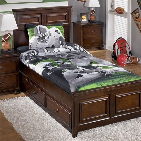 Football Bed by Tackle Football Bedding Set Signature Design Furniture Cart