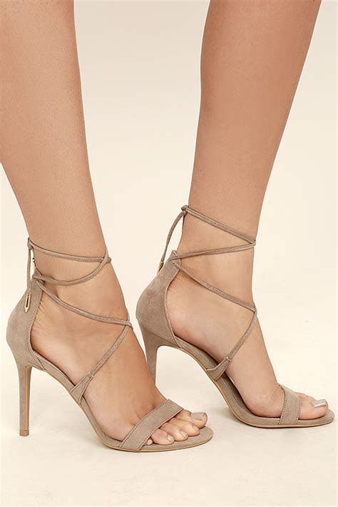 taupe color heels chic taupe heels single sole heels suede lace up heels