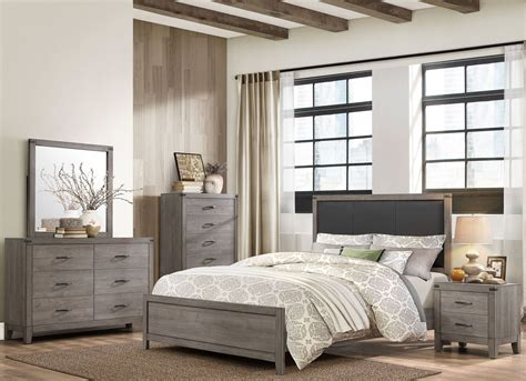 woodrow black upholstered panel bedroom set