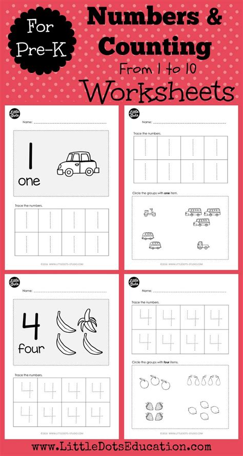pre  numbers    worksheets  activities counting