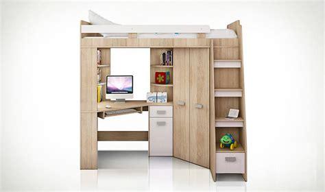 lit à étage avec bureau lit combin en hauteur enfant avec bureau et armoire en bois