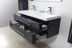 meuble salle de bain design 2 vasques laque gris avec 2 With salle de bain design avec meuble 2 vasques 120 cm